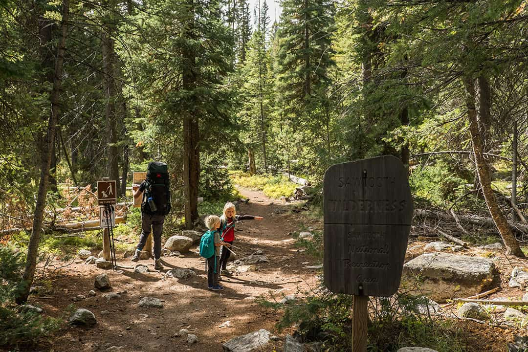 Sign marking Sawtooth Wilderness -- Fill out your free permit here