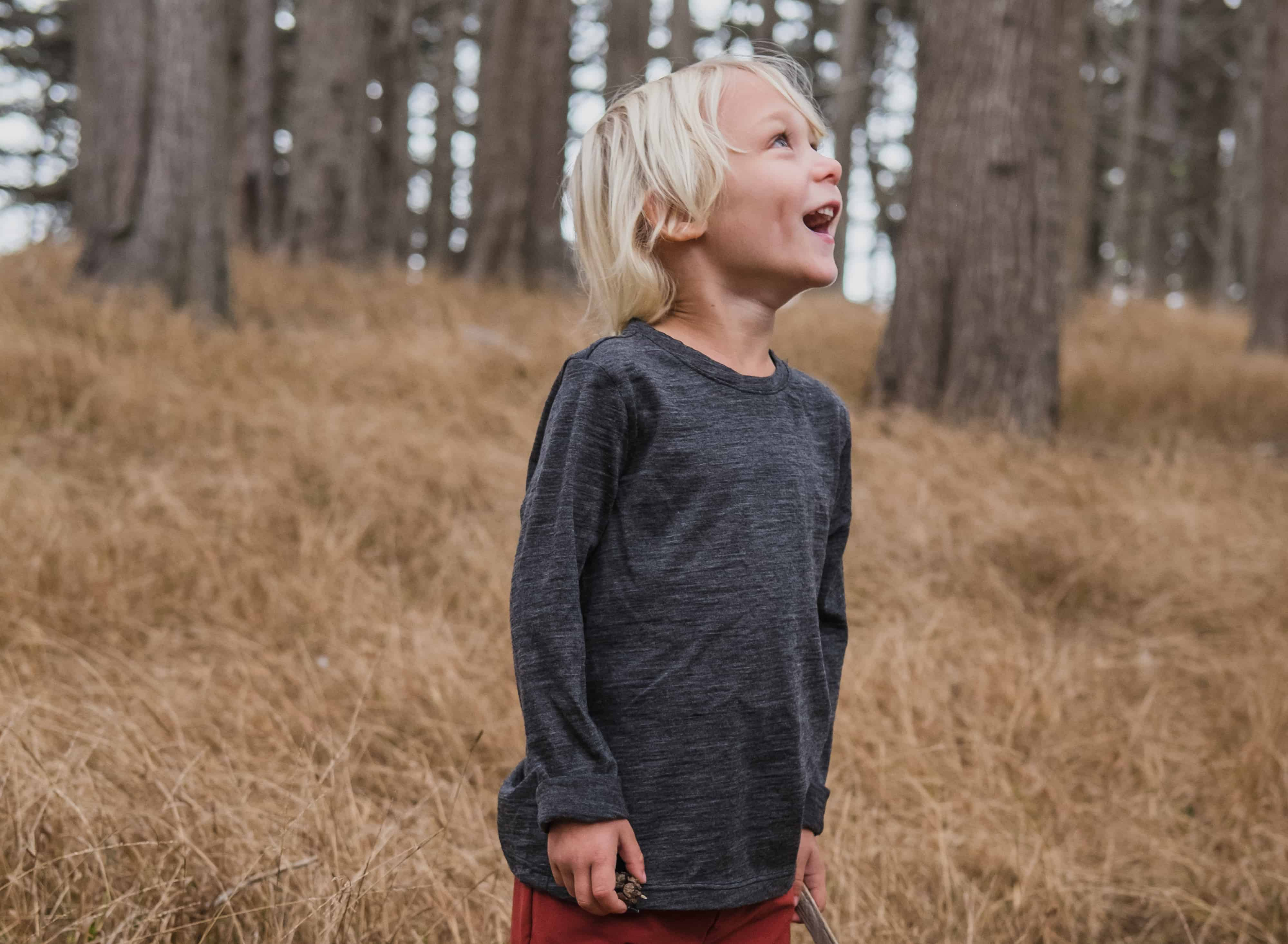 Fjarn Merino Wool Shirt makes a great base layer for kids