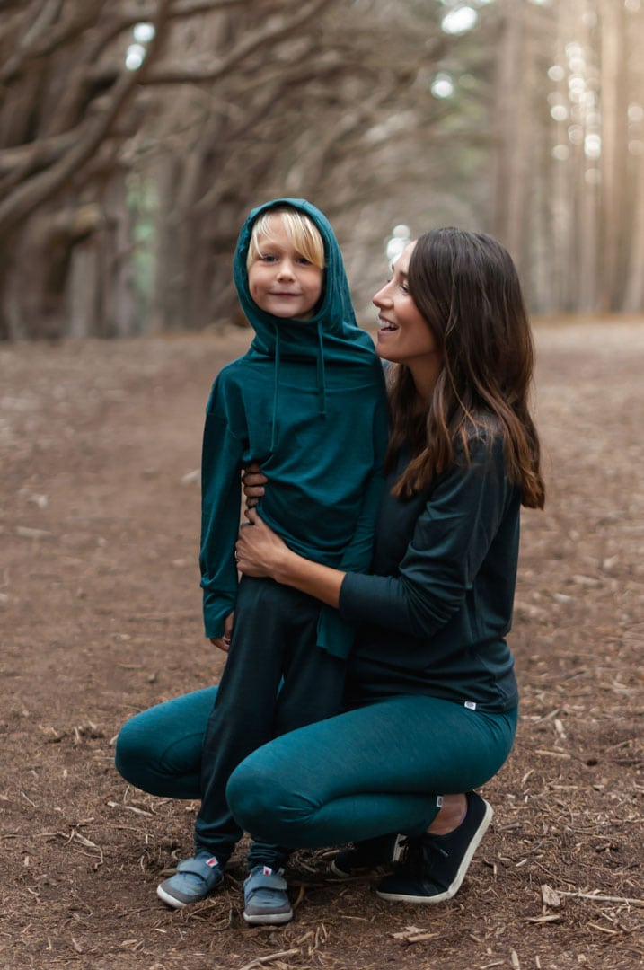 Nui Organics merino silk line has sizing for both women and children