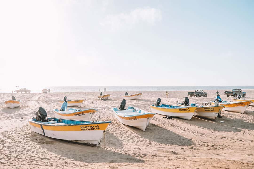 Panga boats at Punta Lobos in Todos Santos, Mexico