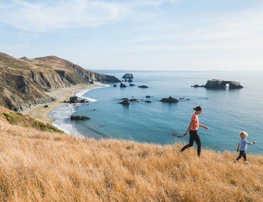 Hiking in a Merino Wool T Shirt along the Sonoma Coast in California