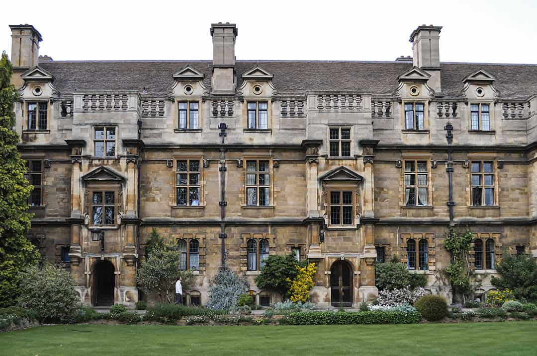 Pembroke College grounds and gardens in Cambridge, England