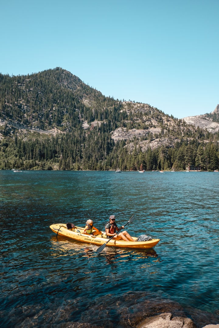 Tandem Kayaking in Emerald Bay State Park, Lake Tahoe California
