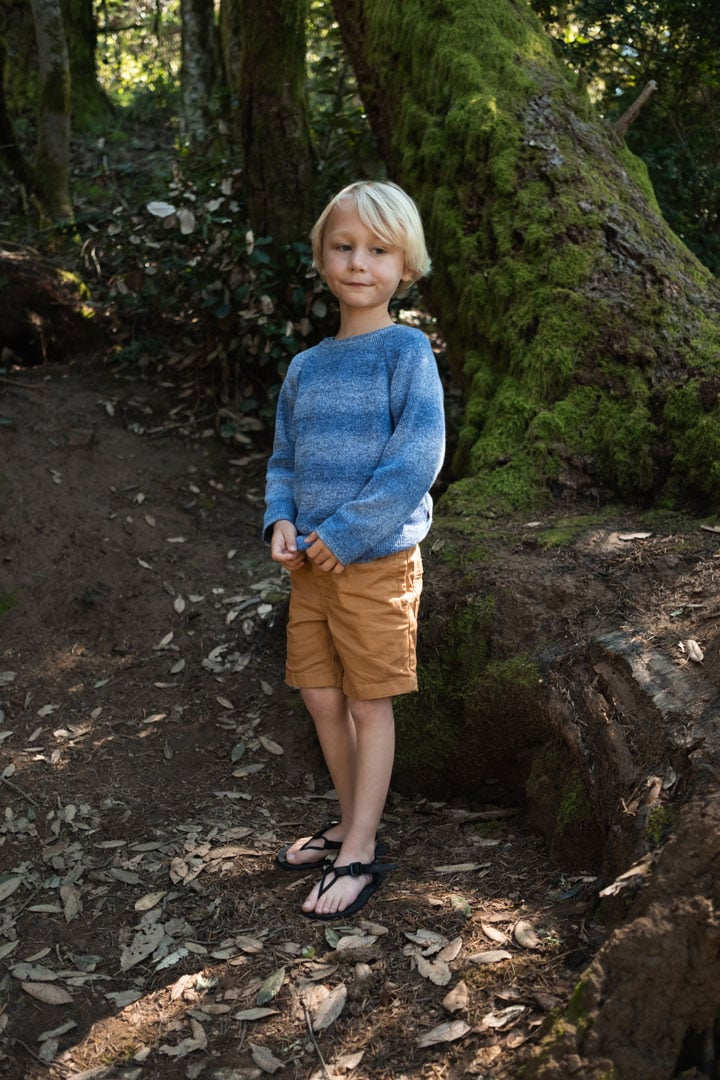 Child hiking in lightweight, flexible barefoot sandals for kids