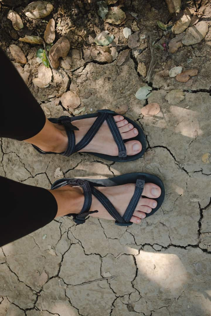 Hiking in the Xero Shoes Z Trail Sandals, one of the best minimalist hiking sandals