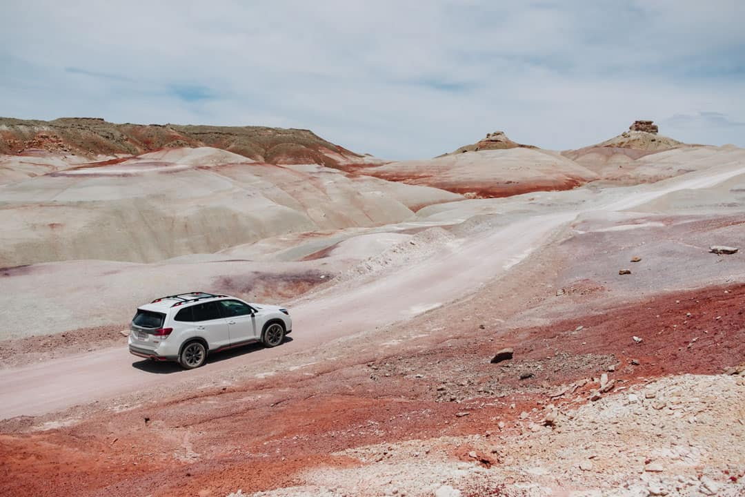 Car Driving through Bentonite Hills in Capitol Reef