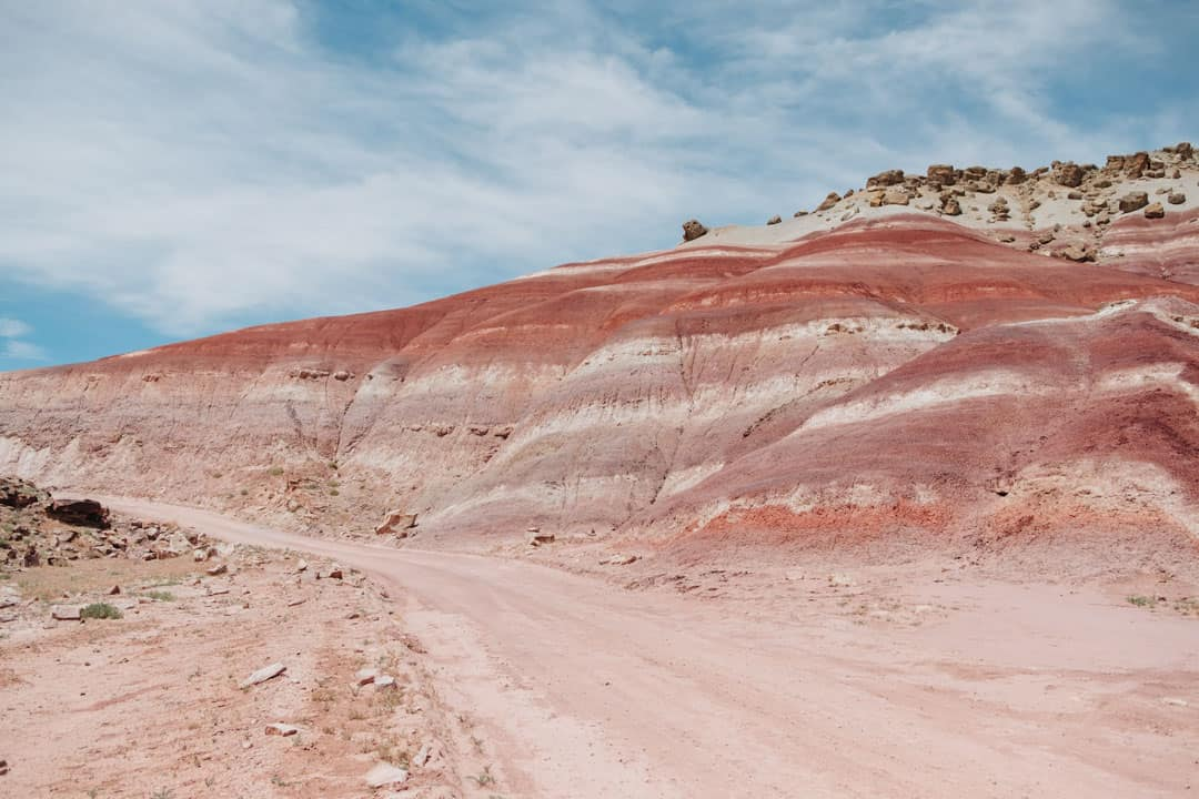 Colorful purple and red Bentonite Hills