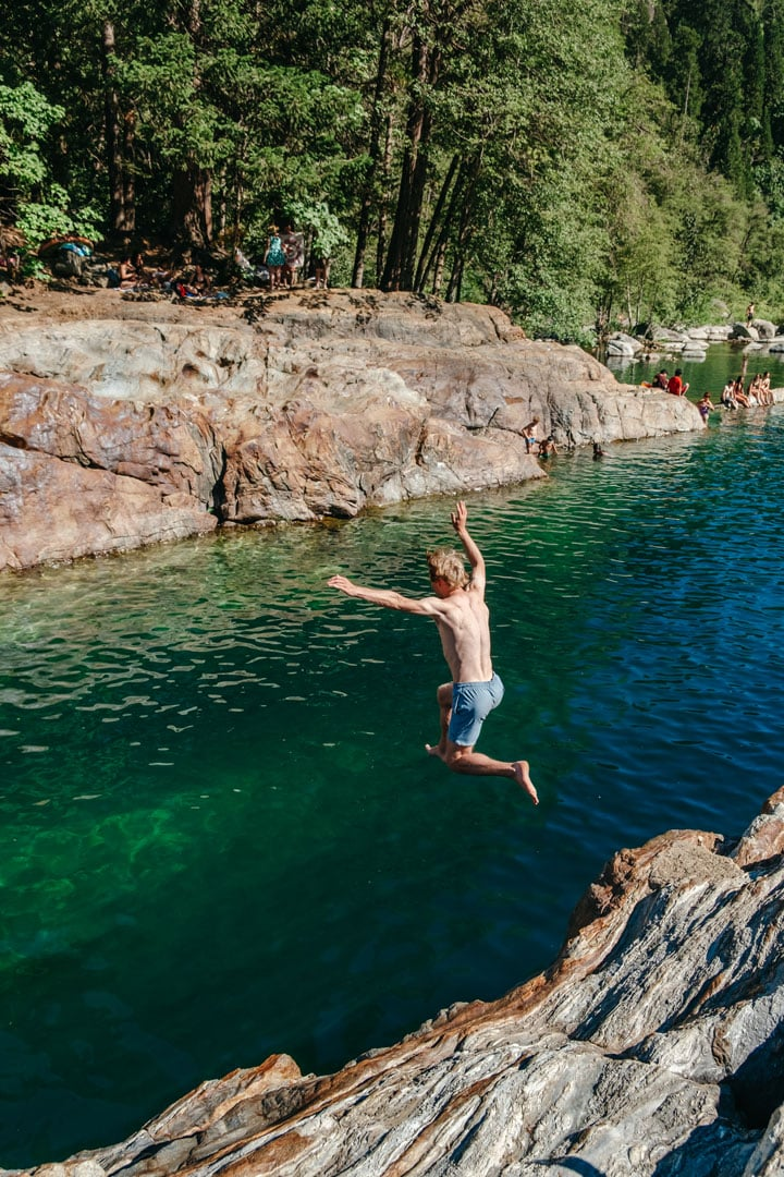 Diving into the Emerald Pools in the Yuba River