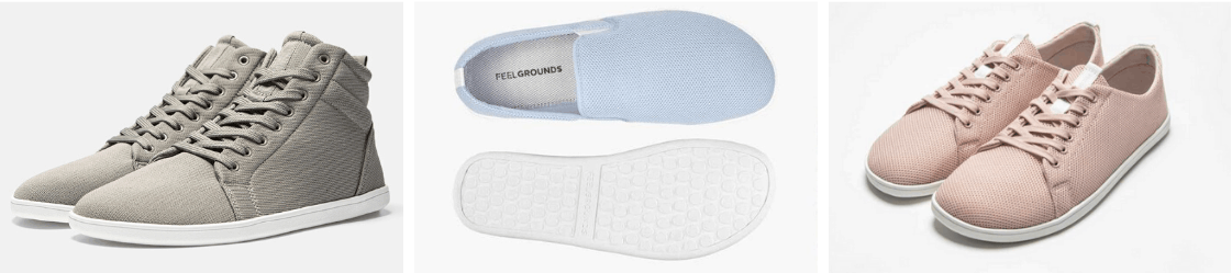 Three barefoot shoe styles from Feelgrounds, including a casual sneaker, a high-rise sneaker, and slip ons