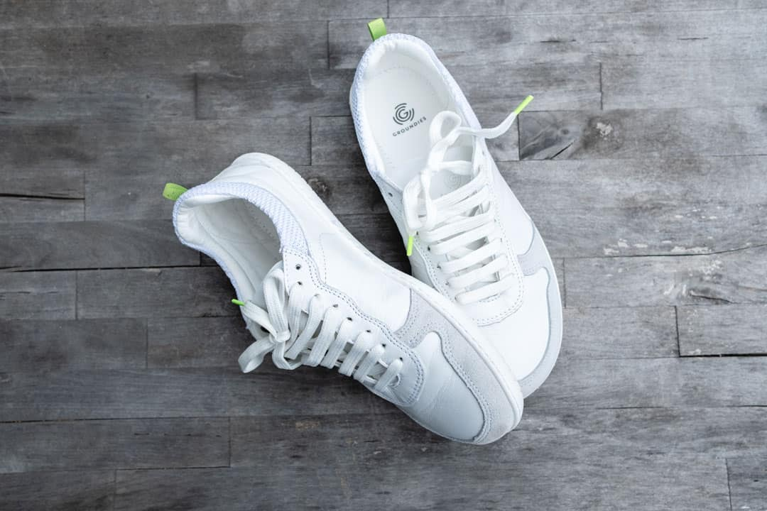 Groundies Barefoot Shoes, a classic white tennis shoe