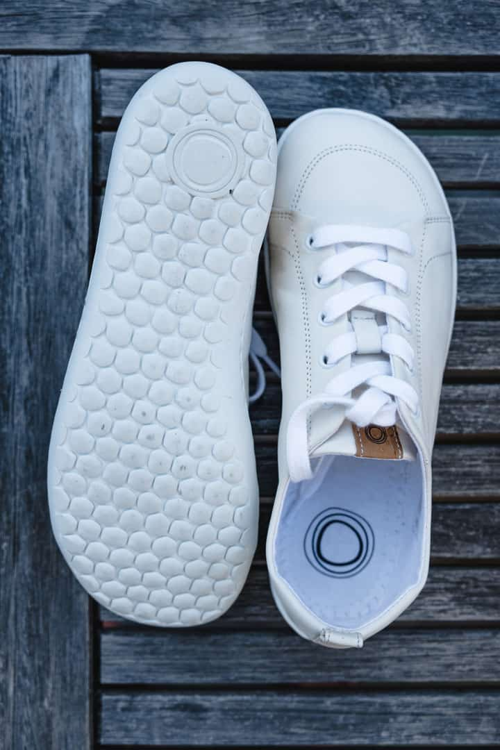 Muki Shoes white leather barefoot shoes