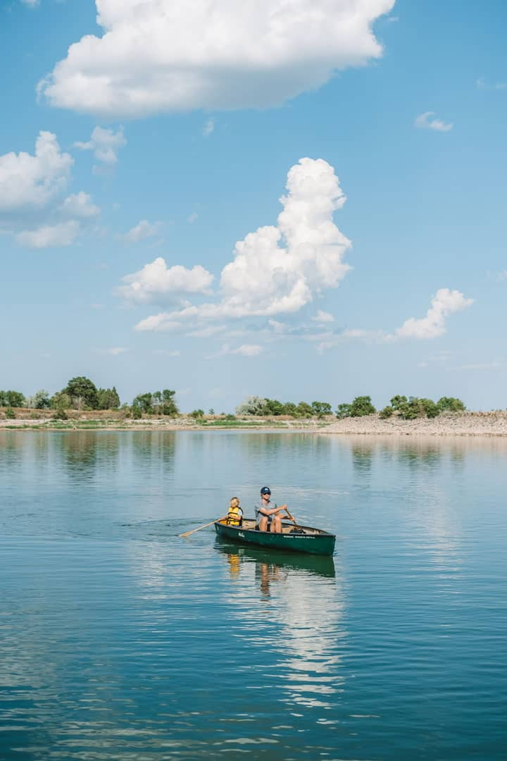Canoeing in Lewis and Clark State Park in North Dakota
