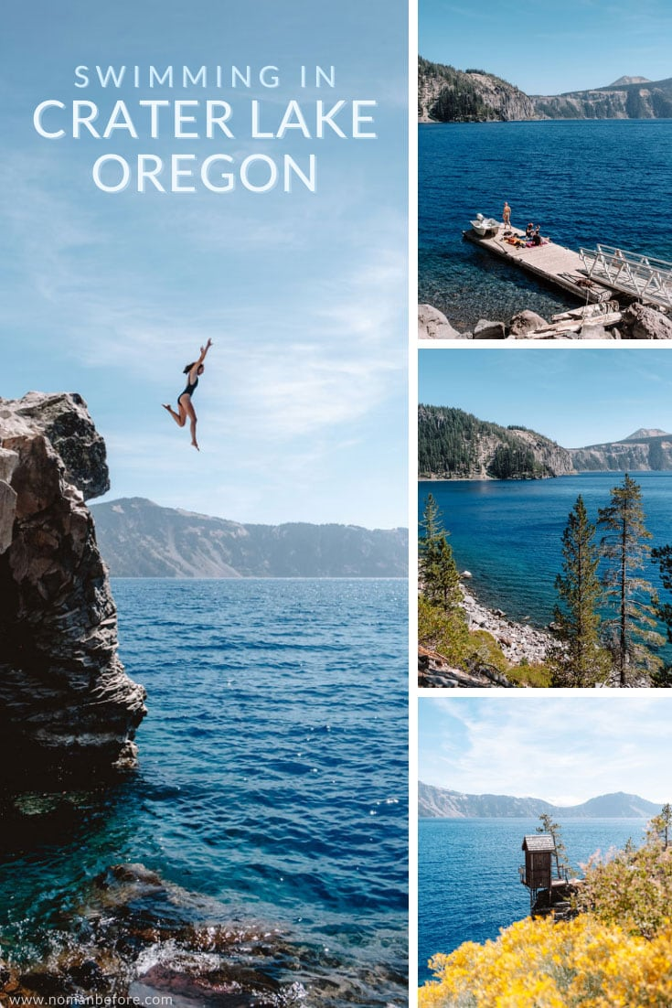 If you've ever wondered if you can go swimming in the clear blue waters of Crater Lake in Oregon, the answer is yes! Hike the Cleetwood Cove Trail to go swimming or cliff jumping in Crater Lake National Park. This trail also leads to the boat dock where you can take a boat tour of the lake, or make a stop at Wizard Island. #Oregon #PNW #CraterLakeNationalPark