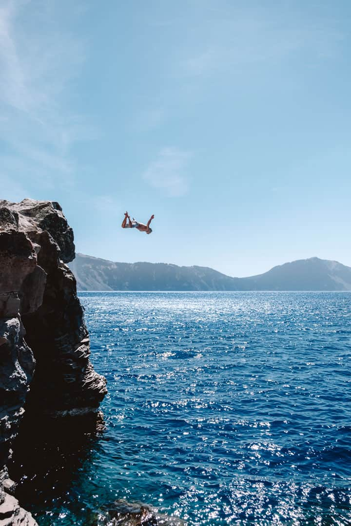 Cliff Jumping at Crater Lake, Oregon
