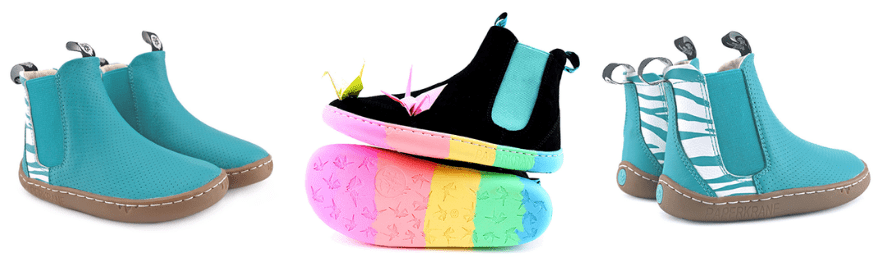 Paper Krane Chelsea Barefoot Boots for Kids with fun colors