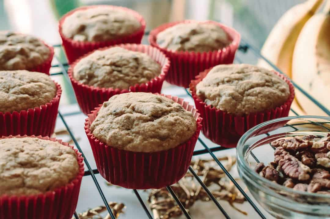 Banana Nut Muffins made with Kodiak Cakes Pancake Mix