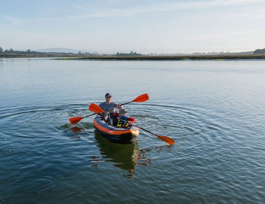Kayaking in Elkhorn Slough in an inflatable tandem kayak