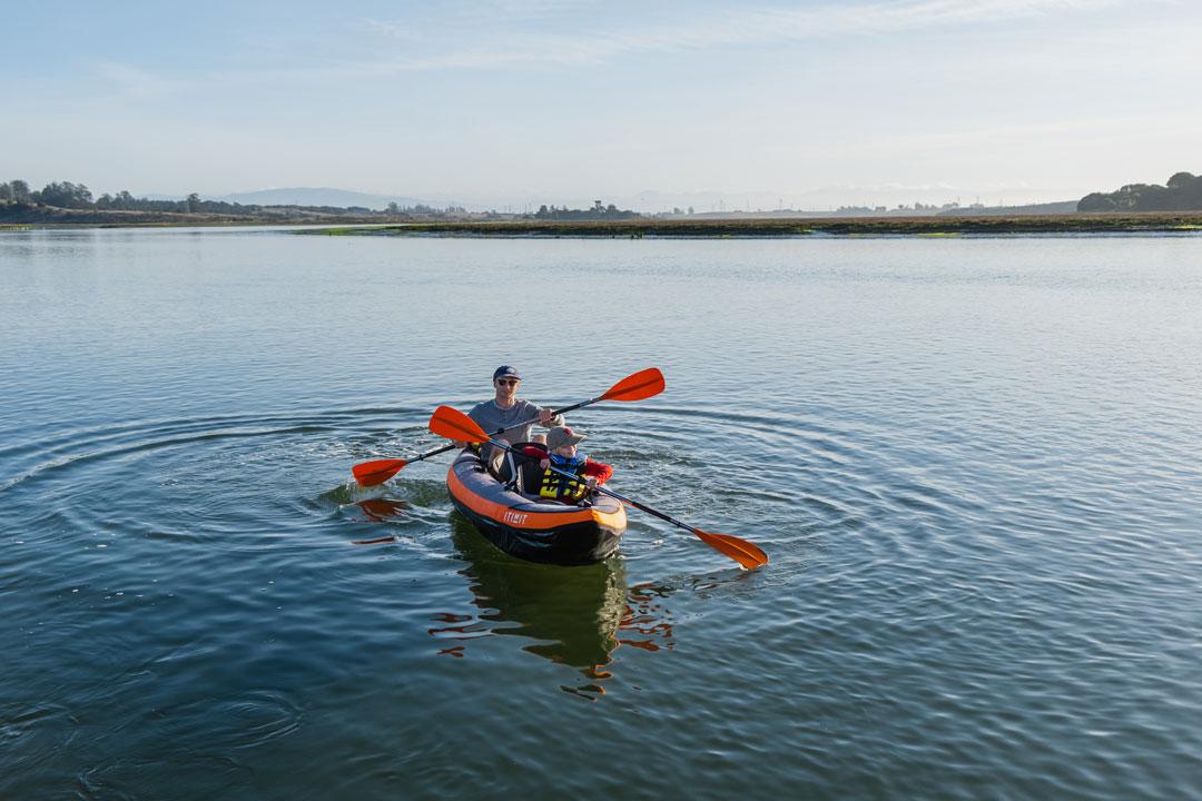 Kayaking in Elkhorn Slough in an inflatable tandem kayak