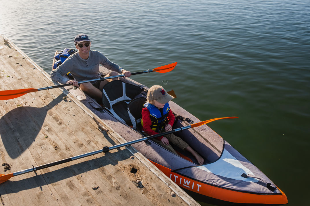 Launching a kayak at Kirby Park in Elkhorn Slough
