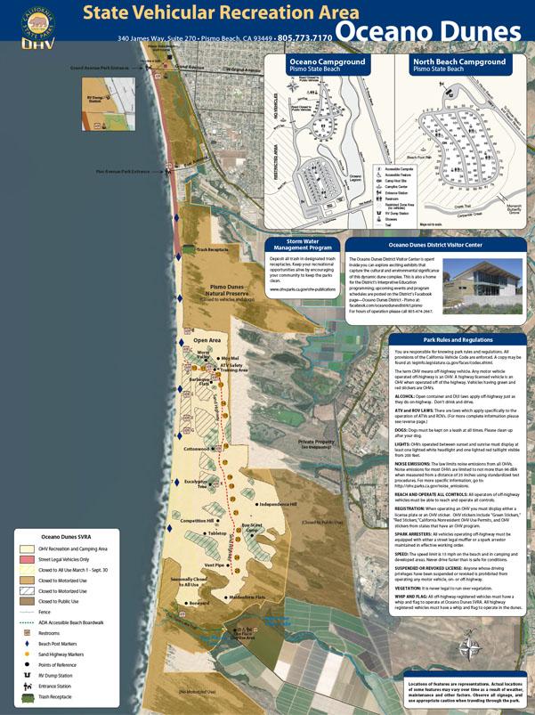 Oceano Dunes Map, Pismo Beach