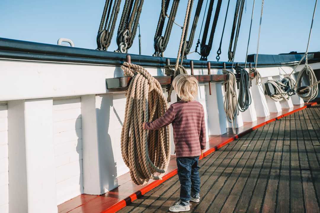 Kids can explore the ships at the Hyde St Pier in San Francisco, California