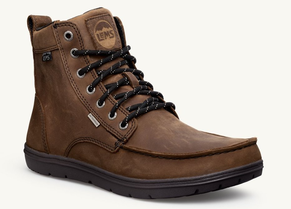 Lems Boulder Boots are Minimalist Hiking Boots with Zero Drop sole and Wide toe box