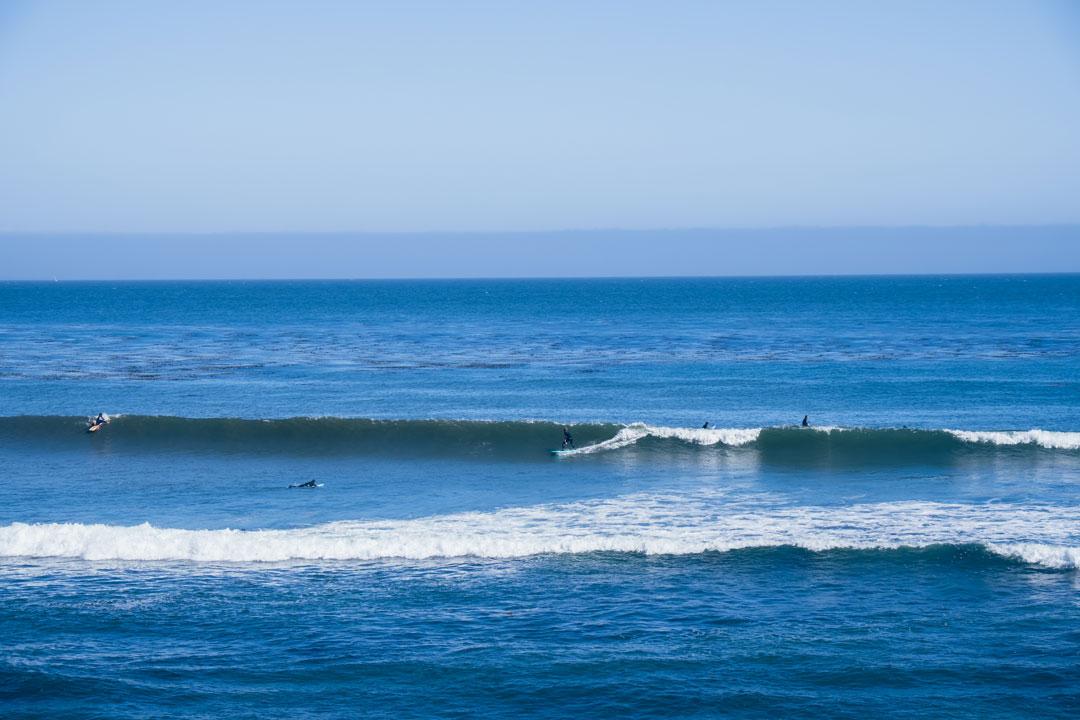 Surfing at Pleasure Point in Santa Cruz, CA